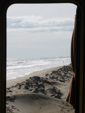 The beach from our camper van