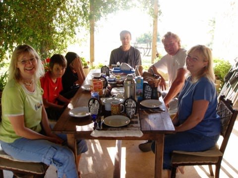 Anja and family at the breakfast table.