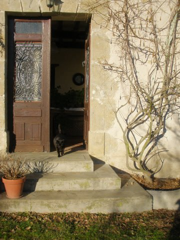 Buddha in the doorway of our farmhouse in winter