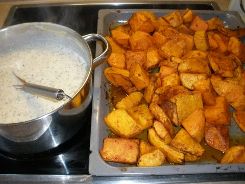The roasted butternut with the white sauce.