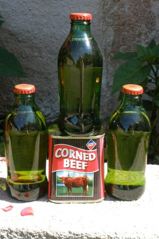 corned beef and bottles