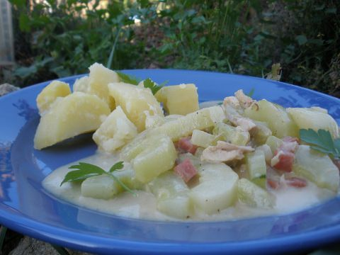 A photo of cucumber chicken fricassee.