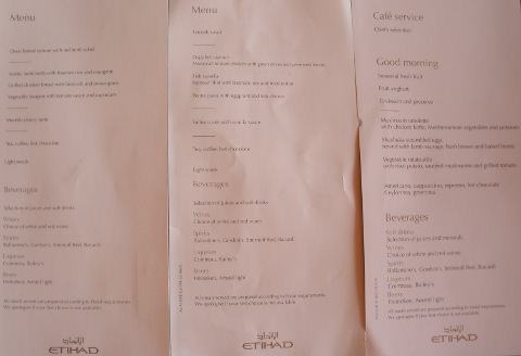 Three Etihad menus.