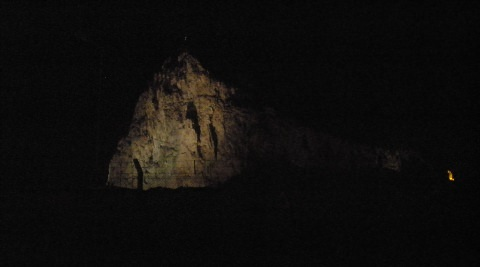 The Rock lit up