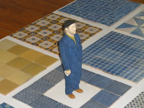 A photo of man in floor display in perspective