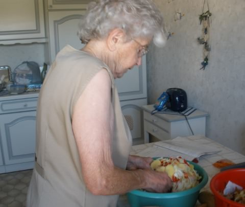 Granny Sophie preparing the meal