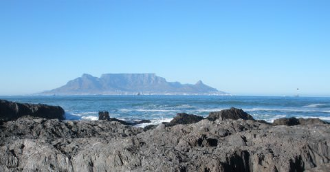 Table Mountain from across the bay.