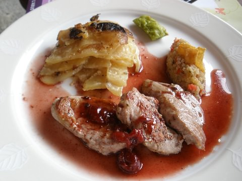 A photo of pork filet and cherry sauce.