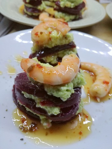 Beetroot Avocado Prawn Starter