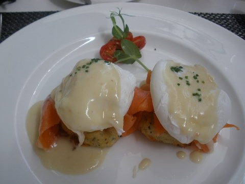 Salmon latkes with poached eggs.
