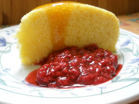 A photo of a slice of Steamed Sponge Cake.