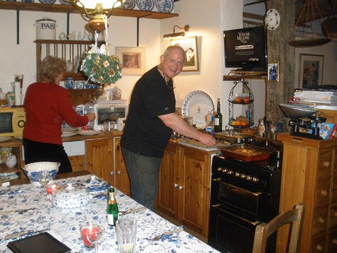 Tony and Sally cooking dinner